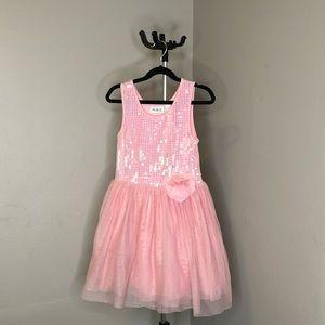 Little girls pink sequins dress